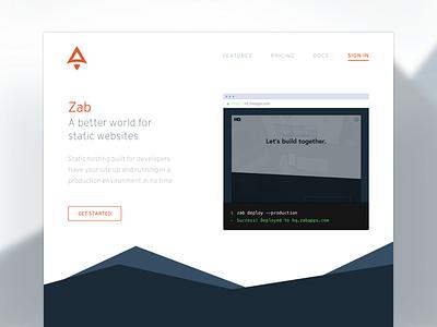 Zab Marketing Page zab websites static marketing layout landing hosting developers cli branding apps