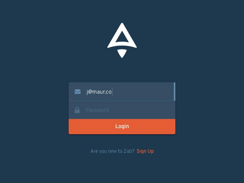 Zab Login auth dashboard form signin login ux ui zab