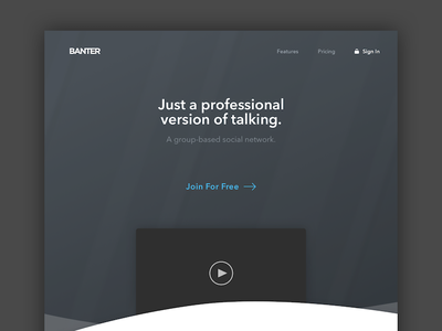 Banter Landing Page banter dark home marketing landing web ui dailyui