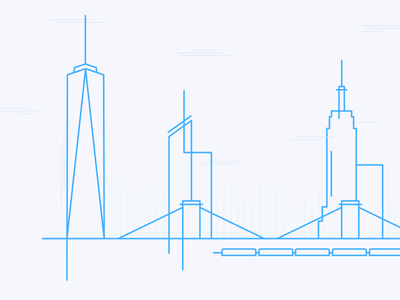 The Big Apple wireframe outline subway train bridge skyscraper skyline nyc city york new