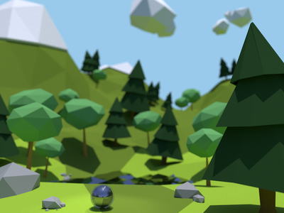 Lakeside lake trees render nature marble low poly boundaries blender animation 3d