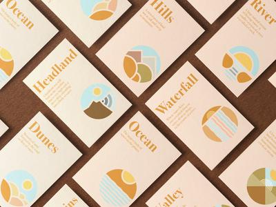 Landmark Identification Cards type bodoni symbolset symbols logomark stationary design stationary print print design