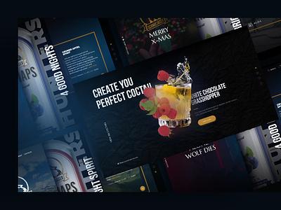 Schnee Jager, Homepage schnapps party bar cocktail dark ui slider interaction webdesign ux ui