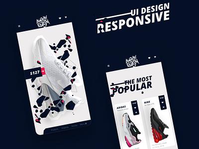 E-commerce UI KIT cart mobile responsive design adidas nike sport store business e-commerce adobe xd webdesign ui ux