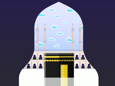 Holy Kaaba Illustration illustraion graphic design landscape flat illustration digital illustration digital art character design art ai