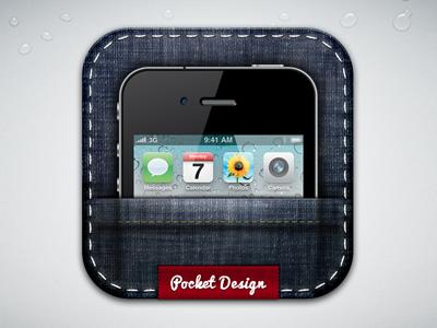 Pocket Design 2 pocket icon iphone mobile jean texture