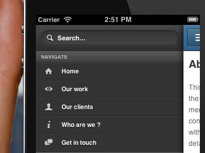 Swipe ios facebook path web webapp swipe gesture menu nav touch search