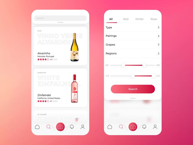 Vivino app UI application ui design branding minimal simple flat clean wine app wine vivino
