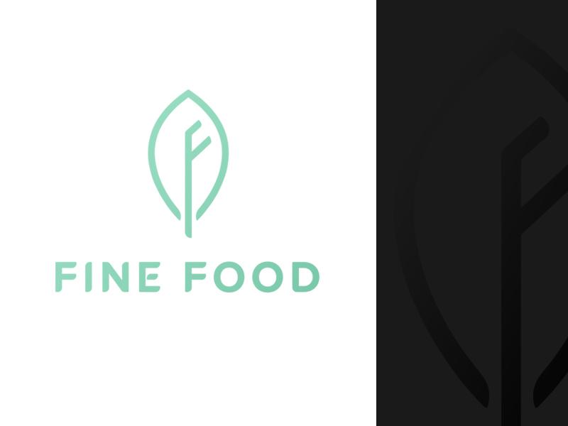 Fine Food logo f logo food logo leaf logo leaf simple clean branding logo design logo