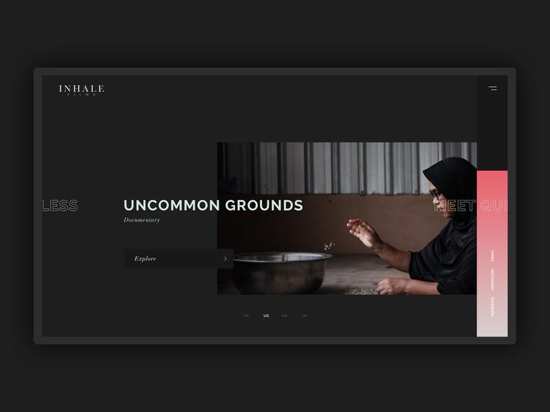Films selection page modern dark website web design web minimal uiux ui design simple flat clean