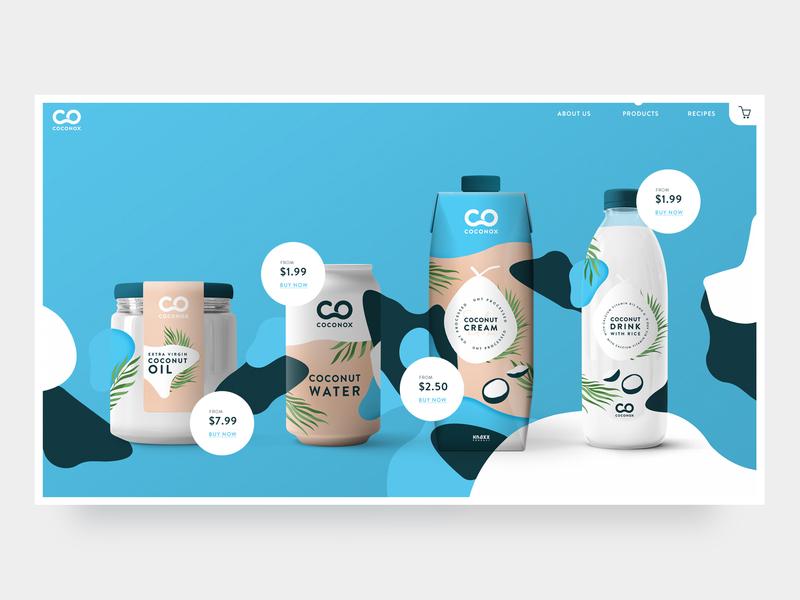 Coconox products page webdesign website logo web ui design branding simple flat clean