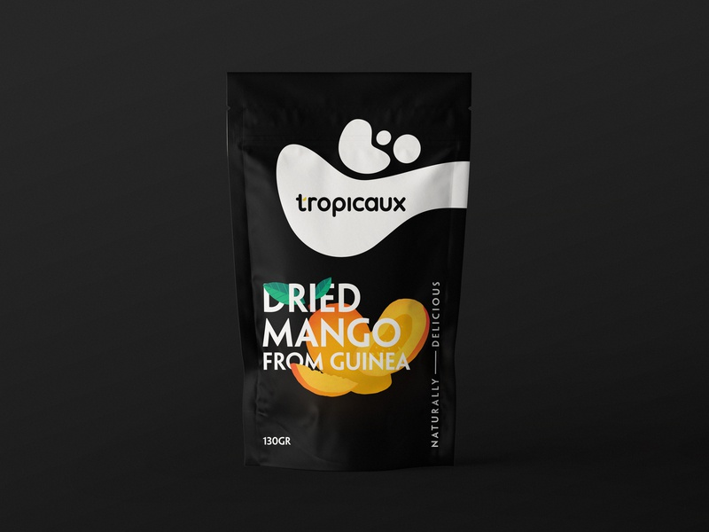 Tropicaux packaging mango fruit dry fruit simple illustration flat clean design branding package design packaging
