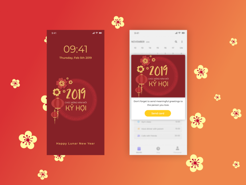 Happy New Year Card In App And Lock Screen By Anh Tran On