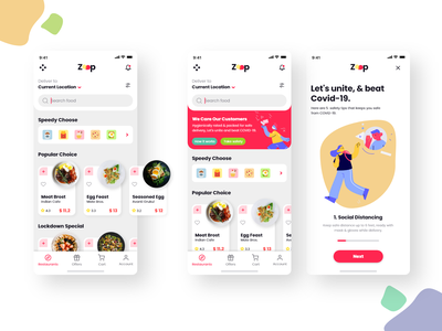 Food Delivery Pandemic Concept UI Design app design food delivery service restaurant pandemic food and drink coronavirus covid19 food illustration ux uiux ui food app food delivery adobe xd