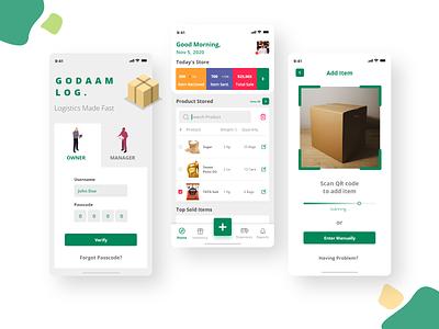 Warehouse Inventory managing App UI [Freebie] seller box market branding design inventory management software auto animate adobe xd ux ui app inventory warehouse