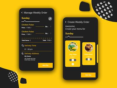 Manage & Create weekly order [Food Delivery App] delivery app 2019 concpet menu week order manage order create order order management order food delivery app delivery food app ios ui  ux adobe xd android app
