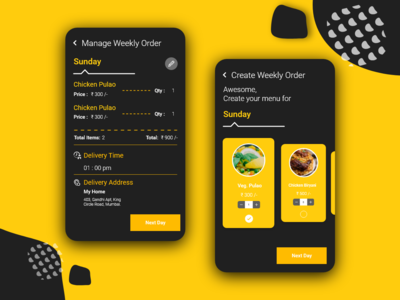 Manage & Create weekly order [Food Delivery App]