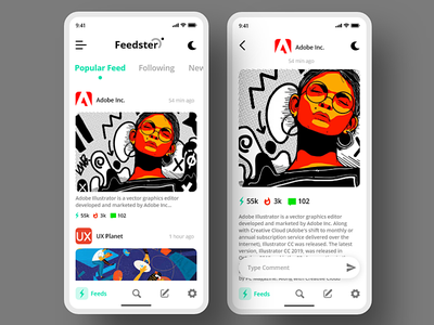 Feedster App news feed app day7 xddailychallenge app ui  ux adobe xd