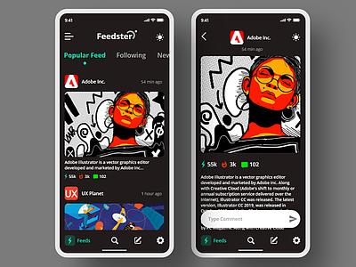 Feedster App {Dark Mode} news feed app autoanimate xddailychallenge ui  ux adobe xd