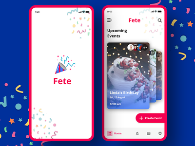 FETE Party Manager App day8 xddailychallenge uiux app ui manager event app event party