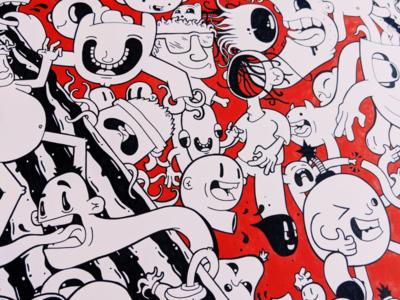 Torn 3/5 graphics vector lineart drawing mural illustrator cartoon character design illustration