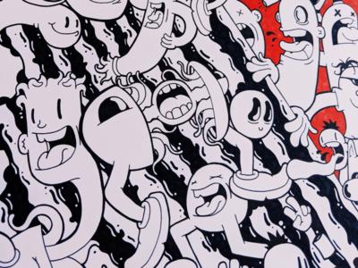 Torn 4/5 graphics vector lineart drawing mural illustrator cartoon character design illustration
