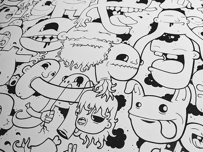 Mural II doodle surrealism black and white murals vector line art design character design character illustration wall art mural