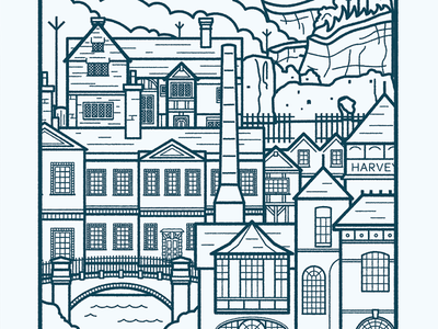 Lewes Poster Detail vector smokestack brewery windows bridge city houses anne of cleves town england lewes