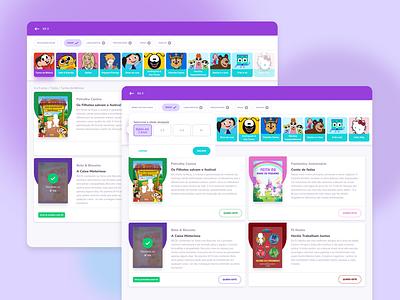 Change Books - Playstories filter kids child kidsbook kids screen ui ux  ui uxui webpage purple website webdesign web web responsive design kids app