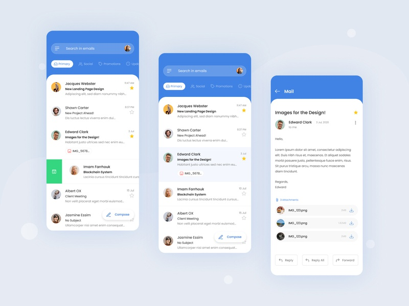 Email Client App blue and white clientwork collaborate flat uidesing minimalistic mobile app dashboard concept creative clean ux ui challenge design app client email