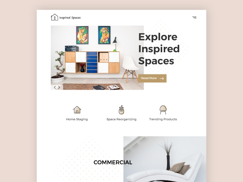 Inspired Spaces Website ux website whitespace landing page decor home creative clean branding web design ui