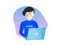 Dribbble girl using laptop