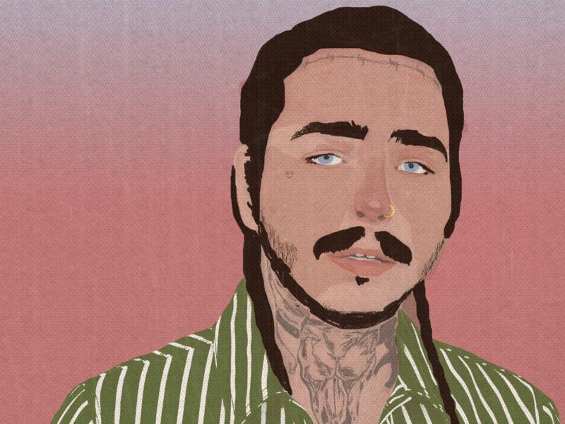 Post Malone Portrait by Jamie Edler on Dribbble