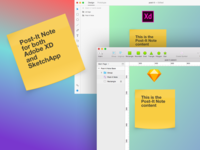 Post-It Note - Free assets for SketchApp / Adobe XD