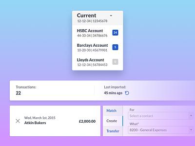 Bank Feeds Interface sage one user interface product design card pattern card dropdown menu menu bank feeds banking ui