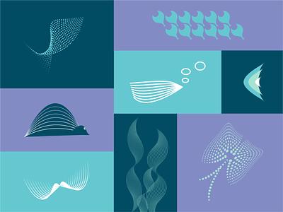MarineLife fish logo creation logo designer marine life fishes vector iconography illustration