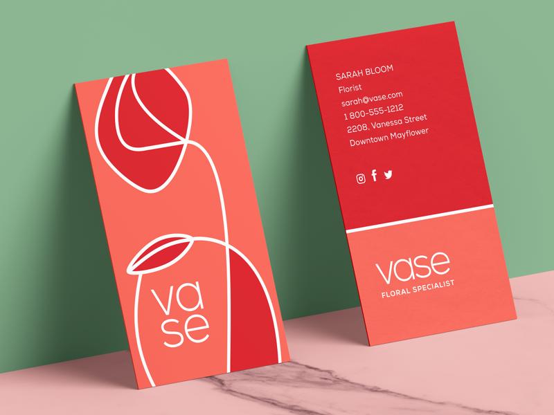 Vase's business card. minimalist design flower shop flower branding and design graphic designer logo identity brand branding business card