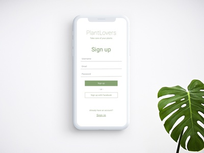 Registration Screen for Mobile App PlantLovers plants plant app registration form registration login green design minimal flat app web ux ui