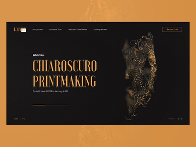 Art galery e-commerce commerce louvre galery gold art black webdesign web promo minimal