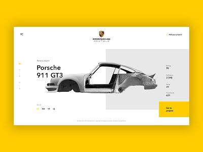 Car restyle garage web minimal design yellow restyle car