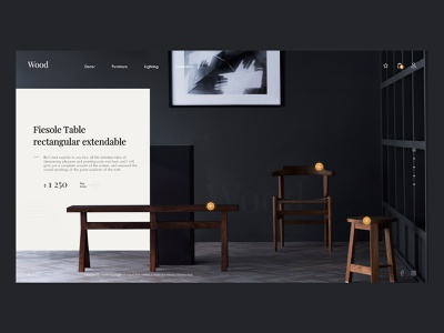 Loft wood shop commerce wood table chair e-commerce shop ui ux promo webdesign design minimal web loft