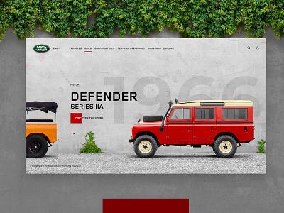 Land Rover history car defender redesign history car auto discover minimal ui ux webdesign promo design web