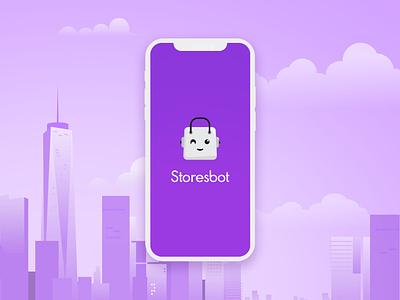 logo Storebot robot promo ios app mobile shop e-commerce commerce illustration branding flat app icon typography logo vector design minimal