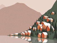 Nordic Mountain Village  - Vector Illustration