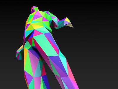 Arlequin low poly human 3d