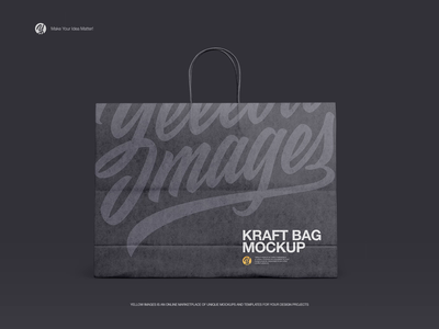Kraft Shopping Bag with Rope Handle Mockup - Front View packaging package big paper design graphic creative branding mockups shopping bag kraft mockup bag shopping
