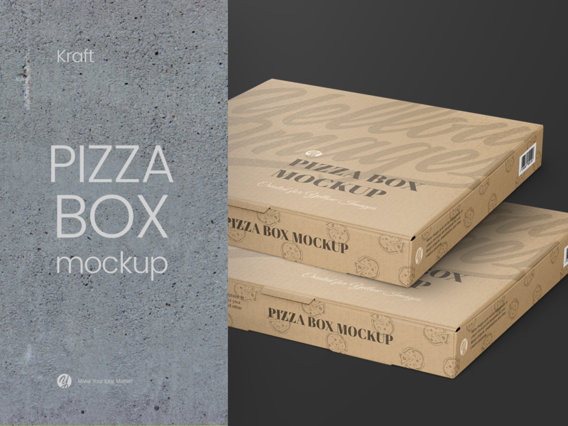 Kraft Pizza Box Mockup - Halfside View box mock up packaging package helenstock kraft pizzeria pizza box pizza fastfood mockup yellow images design branding