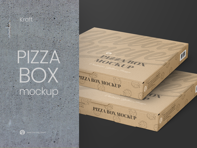 Kraft Pizza Box Mockup - Halfside View box mock up packaging package helenstock kraft pizzeria pizza box pizza fastfood mockup yellow images design branding