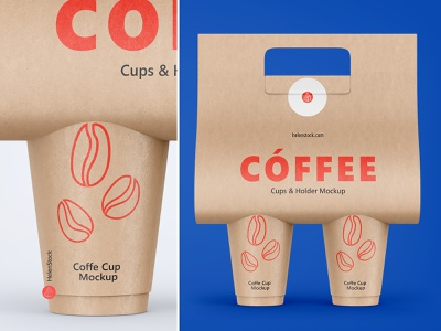 Coffee Cups and Holder Mockups - Front View creative market coffee to go coffee mockup branding mockup coffee holder holder cafe front view design mockup design branding brand mockups kraft cup kraft mock up mockup coffee coffee cup mockup coffee cup