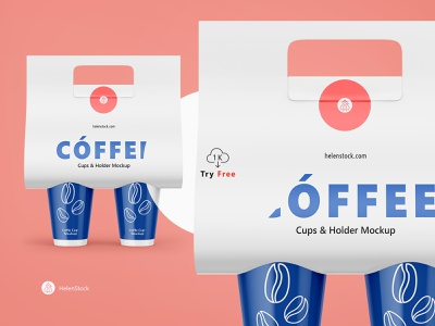 Coffee Cups and Holder Mockup FREE - Front View helenstock front view creative design branding brand coffee to go to go coffee carrier coffee cups 1k download free download free mockup free mockup coffee holder coffee